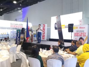 Mr. Winston Manabat giving his speech during the Truckers Forum 2019